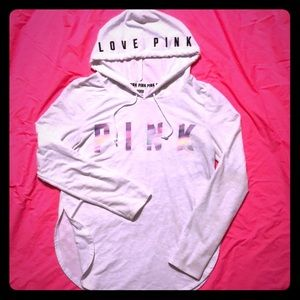 PINK S Hooded Long-sleeve with Side Slit